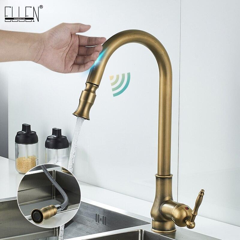 ELLEN Touch Control Kitchen Faucets Pull Out Antqiue Bronze Kitchen Mixer Tap Crane Sensor Faucet Hot Cold Water EL902B
